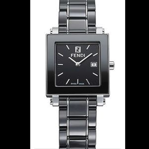 Fendi Black Ceramic Swiss made watch Quartz Square